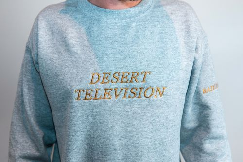 Desert Television Grey Sweater with Gold Embroidery by Bad Dreems