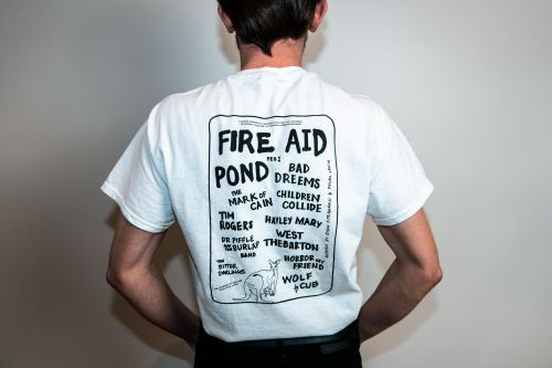 Fire Aid Fundraiser White T Shirt by Bad Dreems