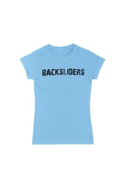 Distressed Logo Light Blue Ladies Tshirt by Backsliders