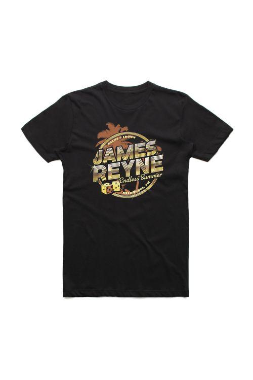 Endless Summer Gold Palms Black Tshirt by James Reyne