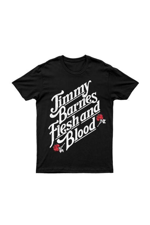 Flesh and Blood Script Black Tshirt by Jimmy Barnes