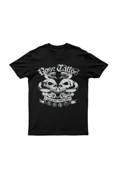 Rocking Since 1976 White Skulls Black Tshirt by Rose Tattoo