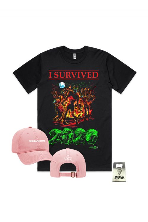 I SURVIVED 2020 PACK + ( Tee, Pink Cap & Bottle Opener) by Thundamentals