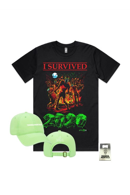 I SURVIVED 2020 PACK + ( Tee, Green Cap & Bottle Opener) by Thundamentals