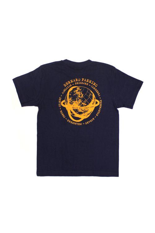 Globe Navy Mens Tshirt by Bernard Fanning