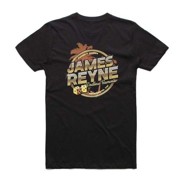 Endless Summer Gold Palms Black Tshirt