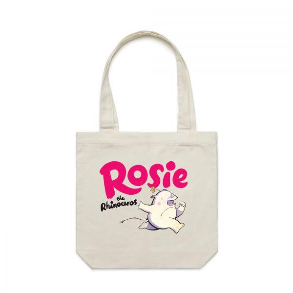 ROSIE THE RHINOCEROS CREAM TOTE BAG