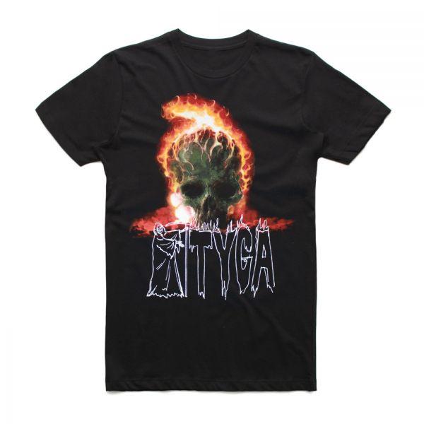 Skull On Fire Black Tshirt